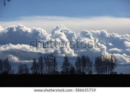 beautiful spring clouds over trees - stock photo