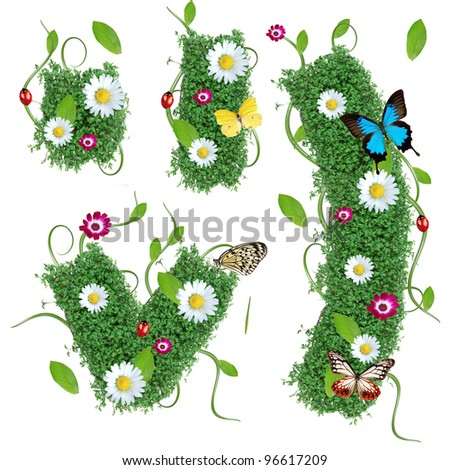 Beautiful spring exclamation mark - stock photo
