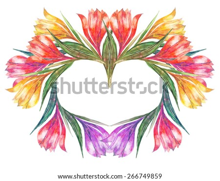 Beautiful  spring flowers Heart. Watercolor illustration.