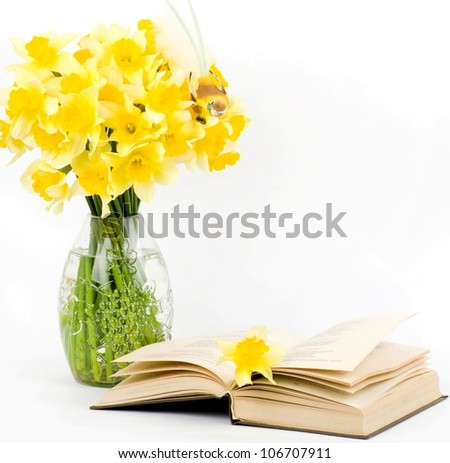 Beautiful spring flowers in a glass vase with book - stock photo