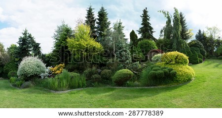 Beautiful spring garden design, with conifer trees, green grass and eneving sun - stock photo