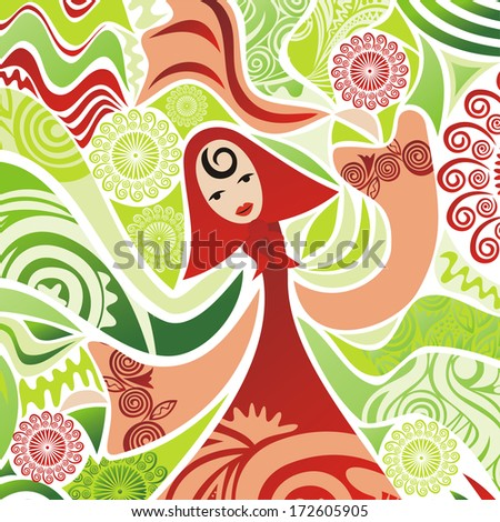 Beautiful spring girl nature pattern background illustration - stock photo