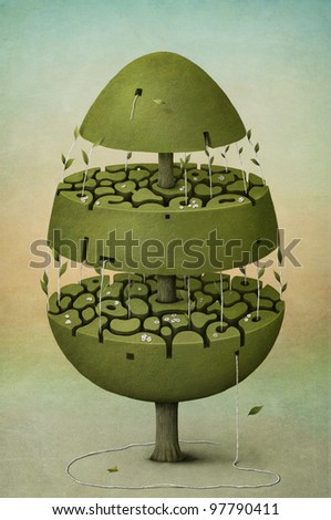 Beautiful spring holiday tree in the form of Easter eggs. Computer Graphics. - stock photo