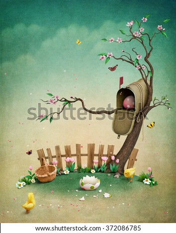 Beautiful spring illustration with mailbox for greeting card or background Easter - stock photo