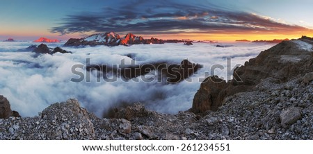 Beautiful spring landscape in the mountains. Sunset - Italy Dolomites - stock photo