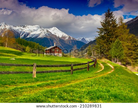 Beautiful spring landscape in the Swiss Alps. - stock photo