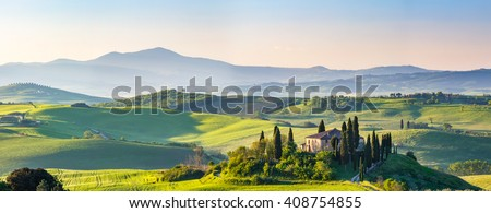 Beautiful spring landscape in Tuscany, Italy - stock photo