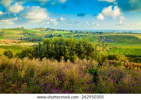 beautiful spring landscape of the south-west Sicily near Agrigento, Italy - stock photo