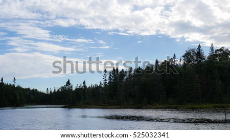Beautiful spring landscape with lake, trees and blue sky. Composition of nature from Ontario - Canada