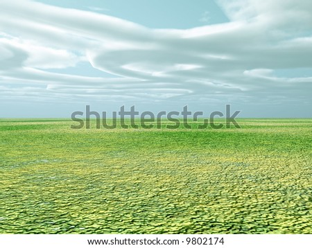 Beautiful spring landscape with unusual clouds