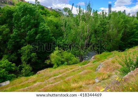 Beautiful spring landscape, Yerevan, Armenia - stock photo