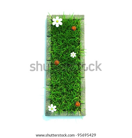 Beautiful Spring Letters made of Grass and Flowers Surrounded with  Border - stock photo