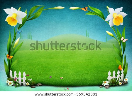 Beautiful spring meadow  greeting card for Easter or Mother's Day.  - stock photo