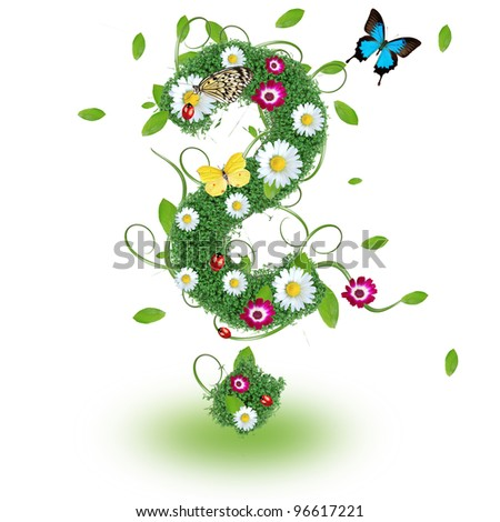 Beautiful spring question mark - stock photo