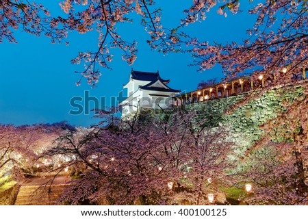 Beautiful spring scenery of a majestic Japanese castle on top of a hill surrounded by romantic sakura cherry blossoms in evening twilight in Tsuyama, Okayama, Japan