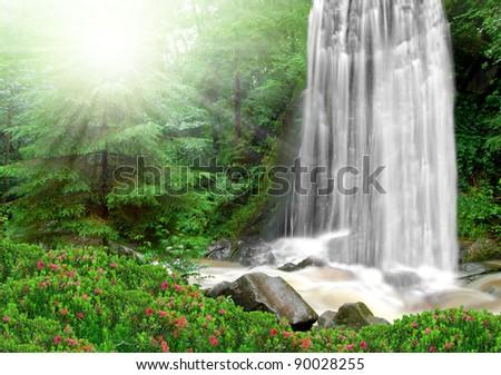 beautiful spring waterfalls - stock photo