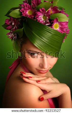 beautiful spring-woman on green background - stock photo