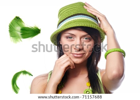 beautiful spring-woman on white background - stock photo