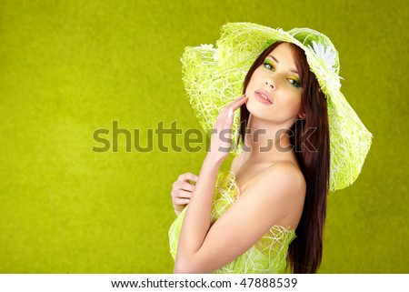 Beautiful spring woman portrait. green concept - stock photo