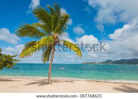 Beautiful St Martin Caribbean ocean vacation destination scene - stock photo