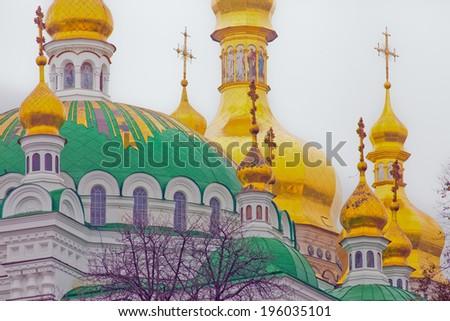 Beautiful St. Michael's Monastery close view. day. Ukraine. Kiev - stock photo