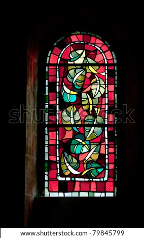 Beautiful stained glass modern church window.