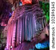 beautiful stalactites,silver cave is a typical karst in guilin,China - stock photo