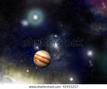 Beautiful star field and nebula with glowing stars and a jupiter - fictional space/scifi scene. - stock photo