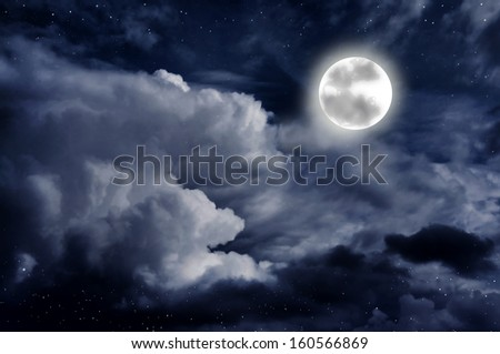 Beautiful starry night sky with clouds and moon - stock photo