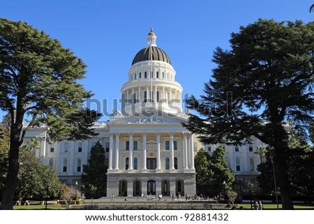 Beautiful state capitol building in Sacramento, California - stock photo