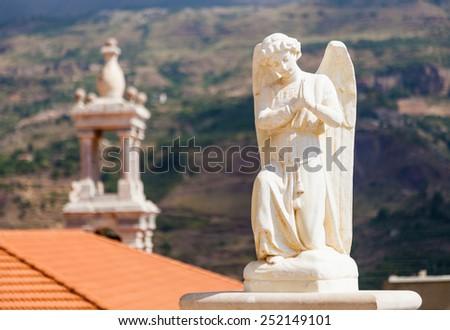 Beautiful statue of angel in church in Bsharri, Qadisha valley, Lebanon - stock photo