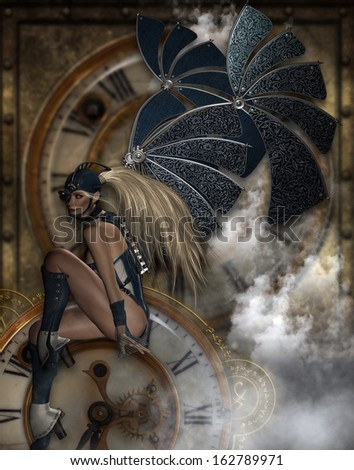 Beautiful Steam-punk Time Traveler with giant metal wings sitting on a clock face with steam flowing up.