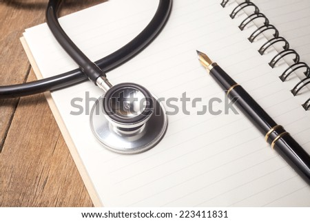 Beautiful stethoscope on book
