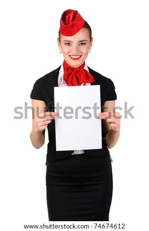 beautiful stewardess holding blank sheet - stock photo