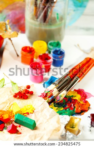 Beautiful still life with professional art materials, close up - stock photo