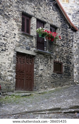 Beautiful stone houses in Spain Pyrenees villages