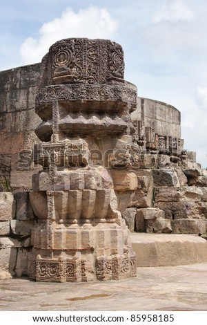 Beautiful stone work of Mayadevi Temple, Sun temple Complex - stock photo