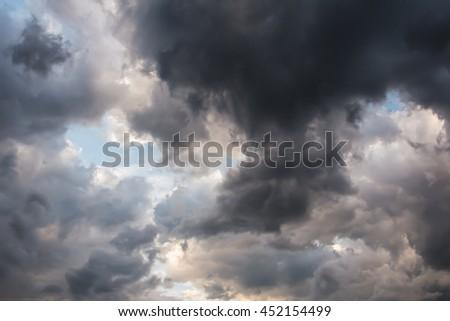 Beautiful storm sky with dark clouds, apocalypse  - stock photo