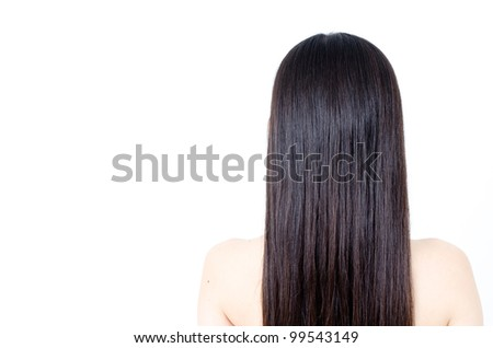 beautiful straight hair isolated on white background - stock photo