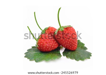 Beautiful strawberries and leaves isolated on white - stock photo