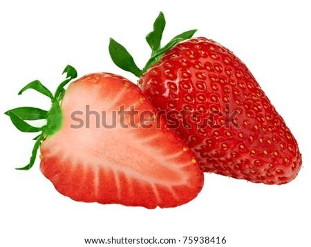 Beautiful strawberries isolated on white - stock photo