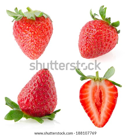 Beautiful strawberries isolated on white background.