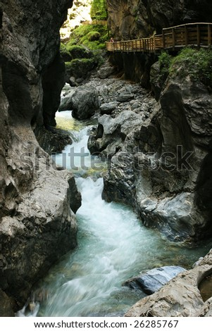 Beautiful stream  in mountain - stock photo