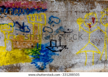 Beautiful street art of graffiti. Abstract color creative drawing fashion on the walls of the city. Urban contemporary culture. Title paint on the walls. Culture youth protest