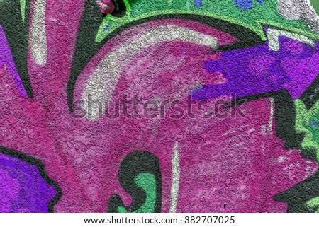 Beautiful street art of graffiti. Abstract color creative drawing fashion on walls of city. Urban contemporary culture. The original dot pattern with selective focus in  future. Creative design option