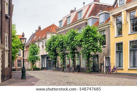 Beautiful street in Utrecht, Netherlands - stock photo