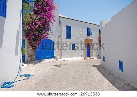 Beautiful street of Sidi Bou Said, Tunisia - stock photo