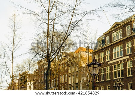 Beautiful street view of Traditional old buildings in Amsterdam, the Netherlands, Europe