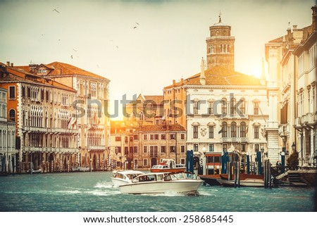 Beautiful streets and canals in Venice, Italy - stock photo