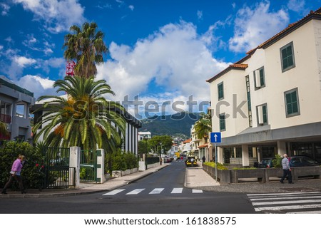 Beautiful streets of city Machico near airport in Madeira, Portugal
